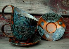 Newest Free of Charge Ceramics cup designs Concepts Pottery Mugs, Ceramic Pottery, Ceramic Cups, Ceramic Art, Pottery Designs, Pottery Ideas, Cup And Saucer, Tea Party, Tea Cups