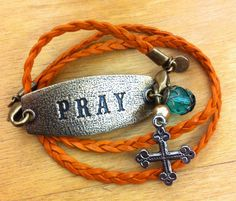 Lenny and Eva pray sentiment and braided wrap with cross charm #lennyandeva
