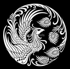 « Traditional White Chinese Phoenix Circle » par Jeff Bartels