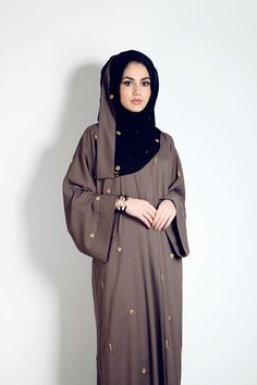 Mink Abaya with scattered gold crystal motifs