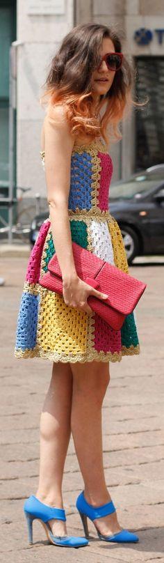 Summer street style inspiration: Megawatt color inspires major inspiration — especially on a sweet, crochet strapless.