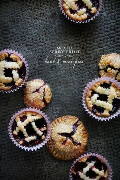 Mini Berry Fruit Pies. So cute & blog source includes a link to the homemade pie crust recipe as well as the filling recipe. Fantastic & yum!