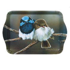Op zoek naar een leuk cadeau voor de vogel liefhebber?  Vogel dienblad klein snuggle up van Ashdene  Afmeting 21 x 14,2 cm  Designed by Natalie Jane Parker