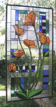 Six California Poppies Blooming--Large Stained Glass window  Panel. $667.00, via Etsy.