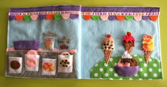 Seriously Incredible Ice Cream Parlor Quiet Book Page - the detail is amazing!