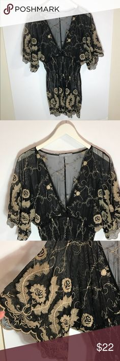 My collection Size small Black&Cream embroidered My collection  Size small  Black&Cream  embroidered floral  scrunched waist  Excellent condition NY Collection Tops Tunics