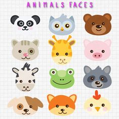 Animal Faces clip art set 12 designs. INSTANT DOWNLOAD