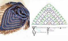 Crochet Wool, Quick Crochet, C2c Crochet, Crochet Poncho, Crochet Chart, Crochet Scarves, Crochet Clothes, Crochet Shawl Diagram, Crochet Triangle Scarf