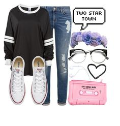"""""""Anti- Social Club"""" by carogamer ❤ liked on Polyvore featuring Tommy Hilfiger, Converse and Lazy Oaf"""