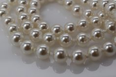 Vintage 24 pearl necklace 7 mm white individually by TheHavenFinds
