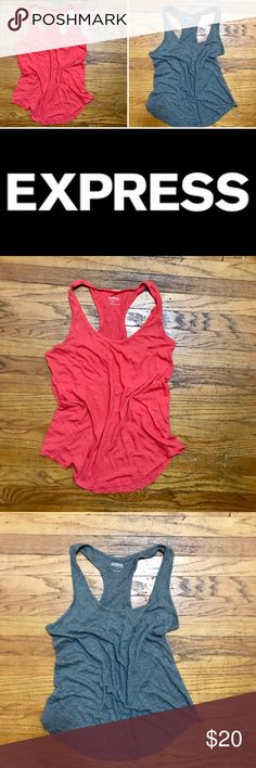 """2 Lightweight Cotton Racerback Tank Tops 2 Express """"dream weight cotton"""" racerback round hem tank tops. Heathered grey was probably worn 2x. Coral-ish pink was worn less than 10x. Great closet staples!!!! Express Tops Tank Tops"""
