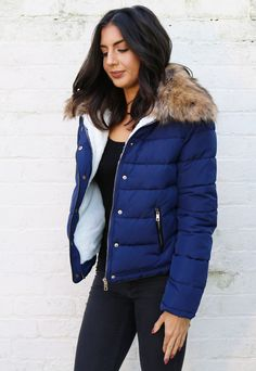 Emily Boxy Short Padded Puffer Anorak Coat in Navy Blue with Natural Fur Collar - One Nation Clothing - One Nation Clothing - 1