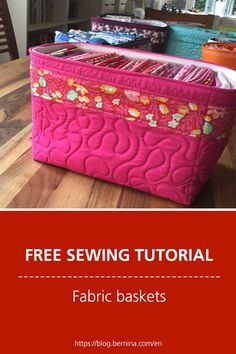 Gretes fabric basket: sewing instructions for free sewing pattern - Diy Fabric Basket Free Sewing, Sewing Patterns Free, Block Patterns, Sewing Machine Tension, Fabric Basket Tutorial, Fabric Box Pattern, Fabric Bowls, Sewing Baskets, Sewing Hacks