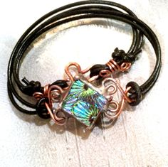 Leather Bracelet Pink Green Blue Fused Glass Jewelry by mmartiniuk, $48.00
