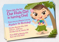 1st+Birthday+Luau+Hula+Girl+Invitation++Custom+by+plumbella,+$12.00