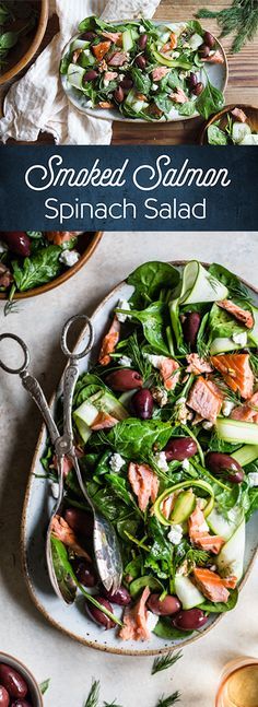 This pretty summer salad is packed full of delicious ingredients including kalamata olives, smoked salmon and crumbled goat cheese.