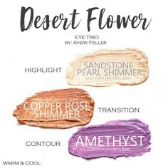 Desert Flower Eye Trio uses three SeneGence ShadowSense : Sandstone Pearl Shimmer, Copper Rose Shimmer and Amethyst. These creme to powder eyeshadows will last ALL DAY on your eye. #shadowsense #trio #shadowsensetrio #eyeshadow #desertflower