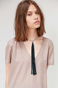 JAKIMAC Dior Leather Tassel Necklace /Long Black Lambskin Tassel with Silver Finish