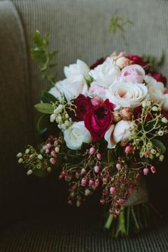 Blush and burgundy blooms