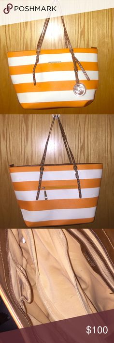 MICHAEL KORS purse Gently used, orange and white, horizontal bag. Only used 2-3 times! MICHAEL Michael Kors Bags Totes