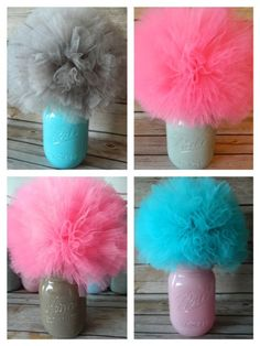 Mason Jar Centerpiece Decoration, Tulle Pom Pom Decoration For Baby Shower