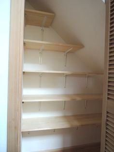 階段下収納 in 2020 Roof Storage, Ceiling Storage, Stair Storage, Storage Shelves, Shelving, Closet Under Stairs, Under Stairs Cupboard, Built In Furniture, Home Furniture