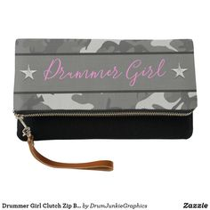 Drummer Girl Clutch Zip Bag Drum Camouflage