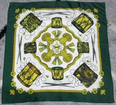"Vintage Hermes Paris Green Border ""Les Tambours"" by Joachim Metz 100% Silk Twill Scarf Made in France - Free Shipping"