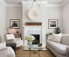 all neutral, minimal living room