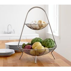 Two-Tier Fruit Basket in Food Containers, Storage | Crate and Barrel
