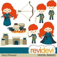 Clipart Fiery Princess 07414.. Digital commercial use graphic clip arts