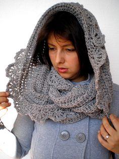 INSPIRATION~SALE Beautiful  Crocheted Cowlnwck soft Tweed Wool Circle Scarf Woman Circle Scarf. $75.00, via Etsy.