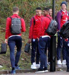 Jesse Lingard (centre) and Marcus Rashford (right) raise a smile as the Manchester United . England National Football Team, England Football, National Football Teams, England World Cup Squad, Jesse Lingard, Manchester United Players, Marcus Rashford, Sporting, Man United