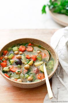Easy vegetarian chicken soup made with vegetables and chickpeas.