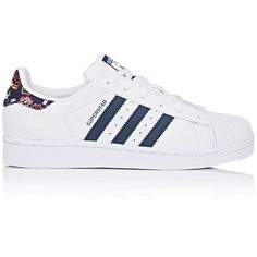 adidas Women's Women's Superstar Leather Sneakers (155 BAM) ❤ liked on Polyvore featuring shoes, sneakers, adidas, perforated leather sneakers, floral print sneakers, adidas shoes, perforated sneakers and sports trainer