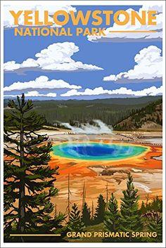 Yellowstone National Park - Grand Prismatic Spring (12x18 Art Print, Wall Decor Travel Poster) Lantern Press http://www.amazon.com/dp/B00N5CHCOW/ref=cm_sw_r_pi_dp_qkTzwb09QKK08