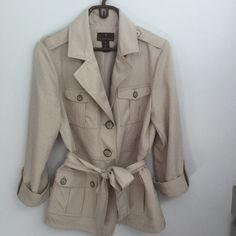 Safari Jacket Tan safari jacket. Four pockets with belt. Perfect for any season. Jackets & Coats