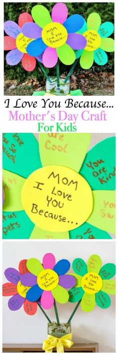 I Love You Because Mothers Day Craft Flowers, an Easy Mother's Day Craft for kids to show how much they love their mom! You can also make one for Grandma! (easy diy projects for mothers day) Easy Mother's Day Crafts, Mothers Day Crafts For Kids, Fathers Day Crafts, Crafts For Kids To Make, Mothers Day Cards, Mother Day Gifts, Fun Crafts, Art For Kids, Sunday School Crafts For Kids