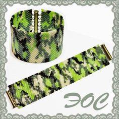 Эос. Бисер. Beaded Camouflage, Peyote.  Бисерный камуфляж, мозаика, схема