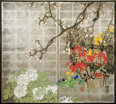 Japanese Screen: Summer Flowers on Silver