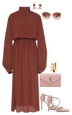 A fashion look from October 2017 featuring midi wrap dress, pointy toe shoes and chain bags. Browse and shop related looks. Muslim Fashion, Hijab Fashion, Fashion Outfits, Cute Casual Outfits, Stylish Outfits, Fall Dresses, Evening Dresses, Look Girl, Trendy