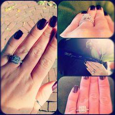 My ring! Princess cut + halo. <3