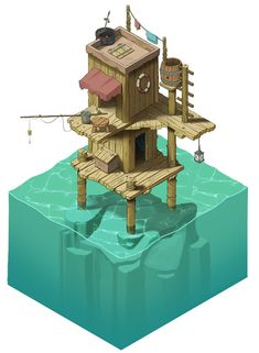Stephan& Sketchbook: Strange Water Home, isometric concept art/illustration - Game Art Isometric Art, Isometric Design, Environment Concept, Environment Design, Game Environment, Art And Illustration, Landscape Illustration, Pixel Art, Game Art