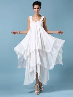 White Sleeveless Layered Dress