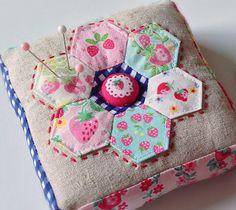 Hexagon Strawberry Pincushion ~ http://lovelylittlehandmades.blogspot.com/2013/10/sweet-strawberry-pincushions.html