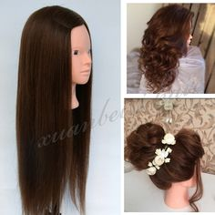 """28"""" Brown Mannequin Head 100% Real Hair Professional Styling Head For Hairdresser Training Head For Practise Makeup manequim"""