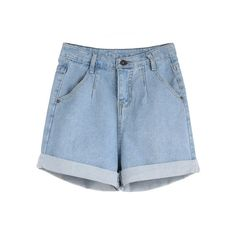 Light Blue Rolled Hem Denim Shorts ($14) ❤ liked on Polyvore featuring shorts, short jean shorts, jean shorts, denim shorts, roll up shorts and rolled shorts