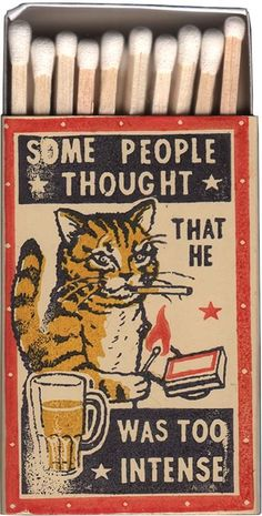 """He didn't want to admit he didn't know the rules."" Vintage matchboxes featuring cats."