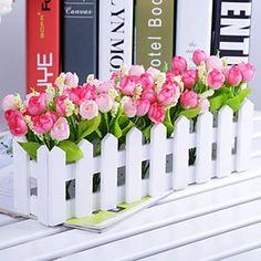 """11.8 tulipanes multicolores """"l * 5.1"""" h estilo rural en la valla de blanco (colores surtidos) 2015 – €13.29"""