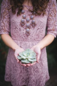 Purple Lace and Greyed Jade Succulents | Tonie Christine Photography | See More! http://heyweddinglady.com/vintage-spring-anthropologie-inspired-bridal-shower/